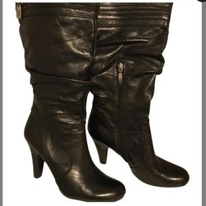 Guess Black Leather Peter Boots